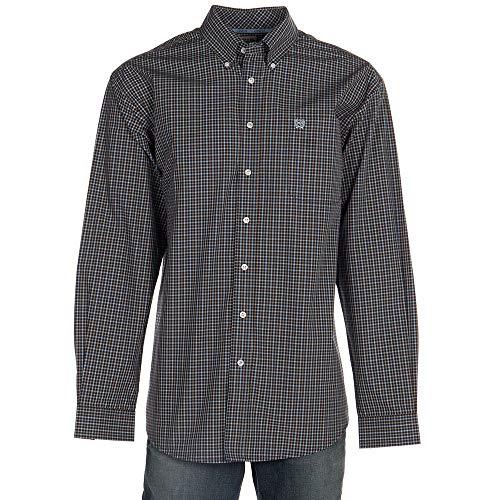 Cinch Men's Classic Fit Long Sleeve Button One Open Pocket Plaid Shirt, Midnight Blue, ()