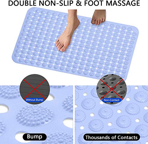 MIFAVOR Shower Mat Non Slip Washable Waterproof Bath Mats for Bathroom with Drain Holes Suction Cups Blue (15.7\