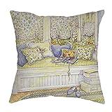 NUWFOR Cotton Linen Pillow Case Sofa Waist Throw Cushion Cover Home Decor(H)
