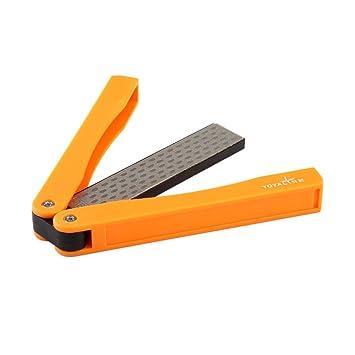 YOYAL multifunción cuchillos Afilador herramienta amoladora bolsillo bilateral diamante al aire libre Piedra de afilar cuchillos de acero afila de ...