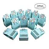 : AerWo 24pcs It's a Boy Baby Shower Treats Boxes, Paperboard Laser Cut Favor Box Gift Bag for Baby Shower Party Supplies Cute 1st Birthday Girl Decoration, Blue