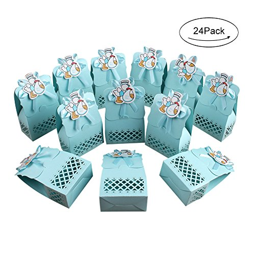 - AerWo 24pcs It's a Boy Baby Shower Treats Boxes, Paperboard Laser Cut Favor Box Gift Bag for Baby Shower Party Supplies Cute 1st Birthday Girl Decoration, Blue