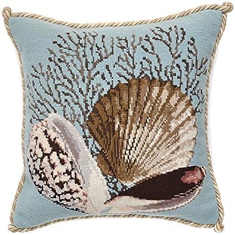 Elizabeth Bradley Home Needlepoint Pillow Duck Egg Blue