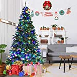 Goplus-Pre-Lit-Artificial-Christmas-Tree-Auto-SpreadClose-up-Branches-11-Flash-Modes-with-Multicolored-LED-Lights-Metal-Stand