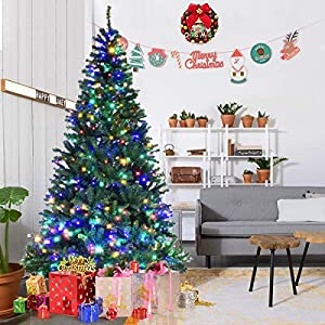 Goplus Pre-Lit Artificial Christmas Tree Auto-Spread/Close up Branches 11 Flash Modes with Multicolored LED Lights & Metal Stand 2