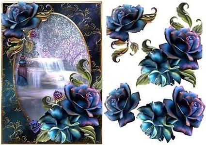 Hermosas Rosas Azules En La Cascada Por Anne Lever Amazones Hogar