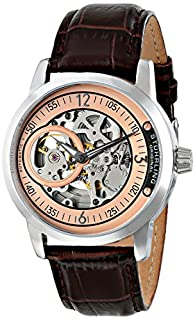Stuhrling Original Men's 837.04 Delphi Automatic Skeleton Rose Dial Brown Watch (B00KR74D4U) | Amazon price tracker / tracking, Amazon price history charts, Amazon price watches, Amazon price drop alerts