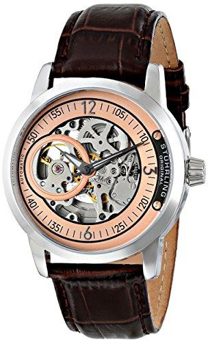 Delphi Mens Skeleton - Stuhrling Original Men's 837.04  Delphi Automatic Skeleton Rose Dial Brown Watch