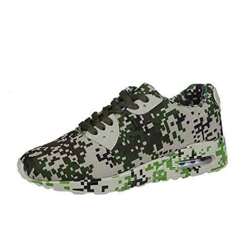 wuayi Men's Mesh Camouflage Pattern Walking Shoes Flat Heel Sport Ankle Shoes Army Green blAPsYz