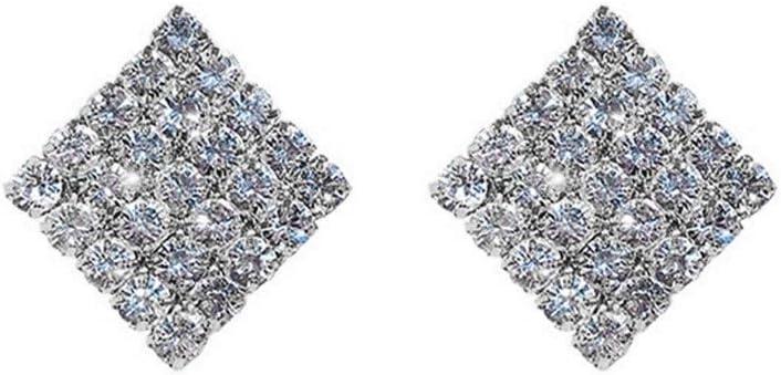 Encanto clásico perfecto Pendientes plata de la aguja del oído simple colgante de diamante completo orejeras Plaza Pendientes de Super Flash pendientes geométrico rombo Pendientes Exquisitos y Encanta