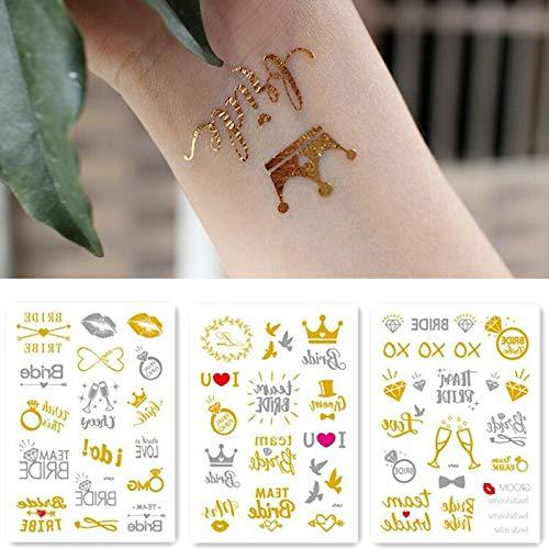 tzxdbh Equipo Novia Tribu Flash Temporal Tatuaje Oro Plata ...