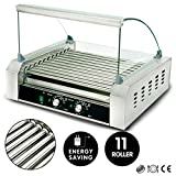 YHG Commercial 30 Hot Dog 11 Roller Grill Stainless Steel Cooker Machine w/Cover