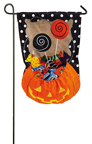 Evergreen Burlap Halloween Candy Treat Garden Flag, 12.5 x 1