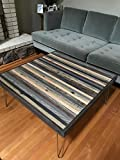 Cheap Beautiful Modern Coffee Table with Grey and Black strips of reclaimed wood