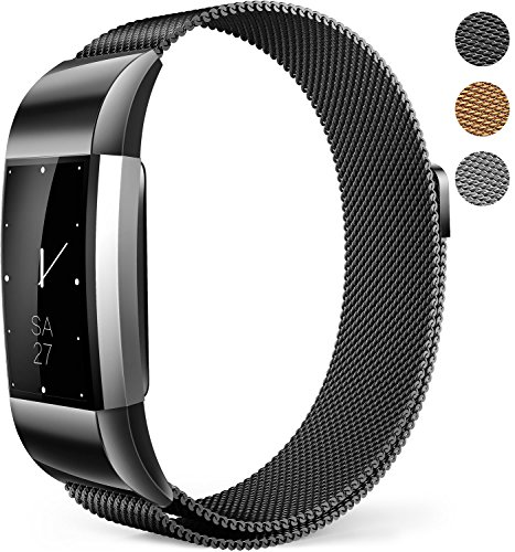 XINKEJI Fitbit Charge 2 Bands Milanese Mesh Loop Wristband Magnetic Closure