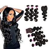 Brazilian Virgin Hair With Closure Unprocessed Brazilian Body Wave Natural Black Human Hair Extensions 3 Bundles with Lace Closure 4x4 Lace Top Closure(12 14 16 with 10 Middle Part)