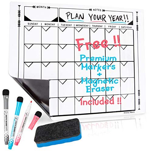 """Magnetic Dry Erase Monthly Calendar Set: Large Magnetic White Board for Refrigerator, Wall Organizer for Kitchen Fridge, Refrigerator Calendar 17"""" x 13"""" with Fine Tip Markers and Magnetic Eraser"""