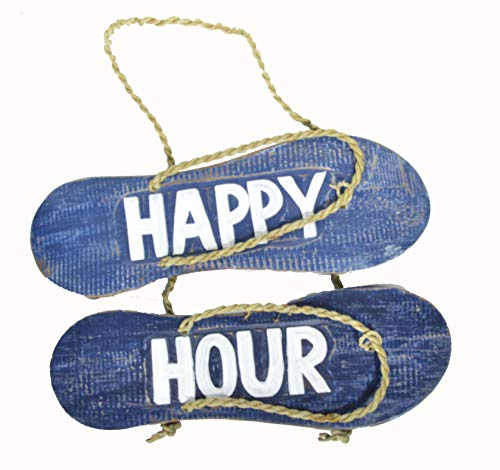 Hand Carved FLIP Flop Happy Hour Sign Towels Beach Surfboard Wooden Wall Hanging Art Tiki Bar