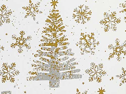 Silver Gold Metallic Christmas Trees Gift Wrap Paper - 15 Foot Roll