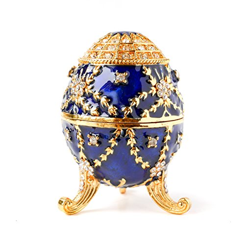 (Apropos Hand-Painted Vintage Style Faberge Egg with Rich Enamel and Sparkling Rhinestones Jewelry Trinket Box)