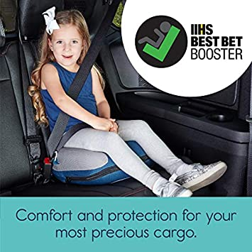 Hiccapop Uberboost Inflatable Booster Car Seat Blow up Narrow Backless Booster Car Seat for Travel Portable Booster Seat for Toddlers, Kids, Child Navy Blue Gray