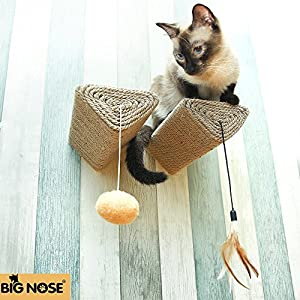BIG NOSE - Cat Scratching Post with Leaser Feather and Fluffly Ball Wall Mount Shelves and Steps Sturd Wall Version 98