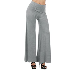Women's Classic Casual Comfy Chico Soft High Waist Wide Leg Palazzo Pants Light Gray L