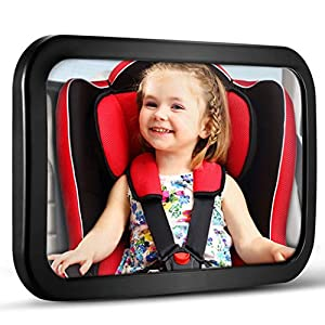 Baby Car Mirror, DARVIQS Car Seat Mirror, Safely Monitor Infant Child in Rear Facing Car Seat, Wide View Shatterproof