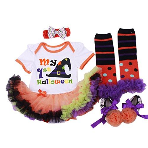 Marlegard® Baby Girls' 4PCs My 1st Halloween Hat Dress Headband Shoes Leg Warmers (6M(0-6months), (First Halloween Outfit)