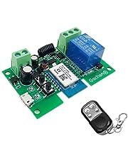 Wifi-relais module 1 kanaals Remote Switch AC220V Inching/zelfvergrendeling Switch Alexa relais DIY voor garagedeur afstandsbediening met 433MHz RF Remote compatibel met Alexa en Google IFTTT