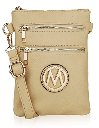 MKF Collection Womans Handbag Pocketbook, Crossbody |Valentines Day Gifts for Her| Multi Zipper