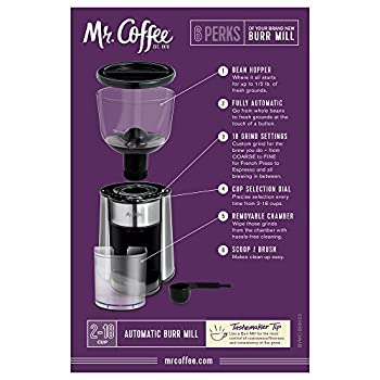 Mr. Coffee Automatic Burr Mill Grinder With 18 Custom Grinds, Silver, Bmh23-rb-1 5