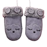 Kids Winter Plush-Lined Mittens with String Cute Cartoon Thicken Gloves, 12