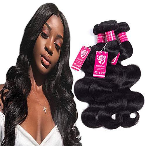 ROSEBUD Brazilian Body Wave Human Virgin Hair Weave 3 Bundles 8-24 inch 8A 100% Unprocessed Natural Black