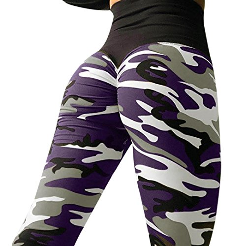 Camouflage Skinny Yoga Pants, Women's Ultra Soft Leggings Power Flex Workout Running Leggings Pants by E-Scenery (Purple, Small)