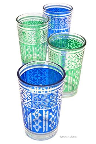 Set 4 Silver Blue & Green Ornate 8 oz Moroccan Tea Glasses in Gift Box