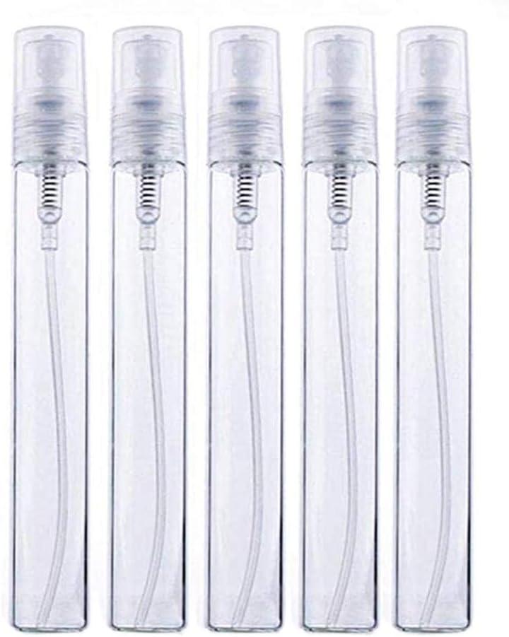 Zihaoo 5pcs Botella de Spray Vacía de Transparente Cristal Botella de Niebla de Viaje para Perfume/Aceite Esencial/Cosmético(10ml)