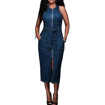 JOYIYUAN Vestido de Mezclilla sólido sin Mangas de la Cremallera de Las Mujeres Vestidos de Bolsillo Midi de Bolsillo con la Correa (Color : Blue, ...