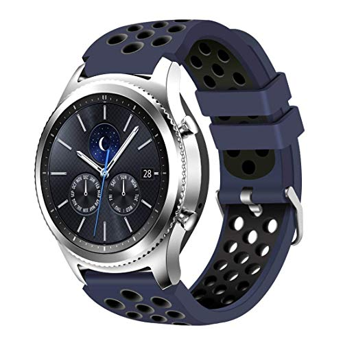 CreateGreat Compatible for Samsung Galaxy Watch 46mm,Gear S3 Soft Replacement Breathable Sport Bands with Air Holes and Quick Release Pin for Samsung Gear S3/Galaxy 46mm Watch