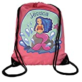 Personalised Kids True Pink Little Mermaid Theme Drawstring Swimming, School, PE Bag For Girls
