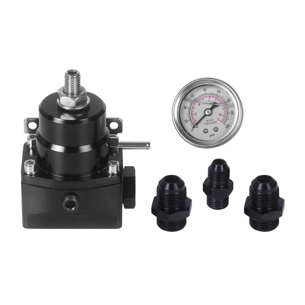 30-75 PSI Car Fuel Pressure Regulator with Boost+ Gauge+ AN6 AN8 Fitting Childplaymate