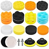 Electop 4 Style Car Polishing Pad Kit 22 Pcs, 3 Inch Foam Drill Buffing Sponge Woolen Pads for Car Sanding, Buffing, Polishing, Waxing, Sealing Glaze(18 Pads+2 Drill Adapters+2 Suction Cups)