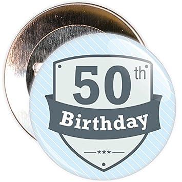 Retro Vintage Button Zum 50 Geburtstag Mit Blauem Hintergrund