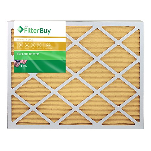 FilterBuy 24x36x1 MERV 11 Pleated AC Furnace Air Filter, (Pack of 4 Filters), 24x36x1 – Gold by FilterBuy (Image #1)