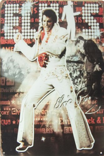 - Elvis Presley King of Rock & Roll, Metal Tin Sign, Vintage Style Wall Ornament Coffee & Bar Decor, Size 8
