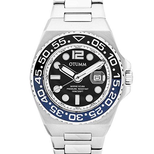 Otumm Athletics II - Reloj de pulsera unisex con correa de acero, esfera negra, calendario de 45 mm: Amazon.es: Relojes