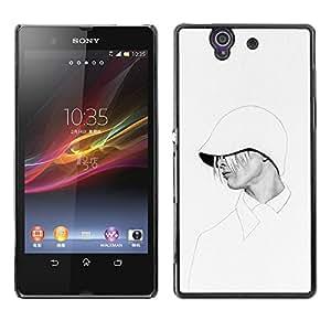 Sudadera con capucha de la mujer con estilo blanca Moda- Metal de aluminio y de plástico duro Caja del teléfono - Negro - Sony Xperia Z L36H