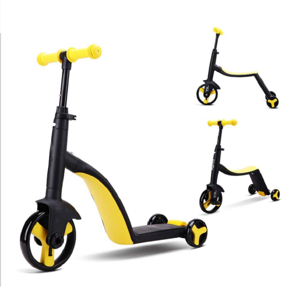 Kinder Dreirad Fahrräder, Kinder Roller Trike Baby 3 in 1 Balance Fahrrad Fahrt auf Spielzeug Kinder Geschenk Gelb