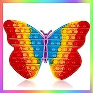 Woplagyreat 4 Pack Rainbow Popitz Fidget Toys Sensory Push Bubble Gift for Kids