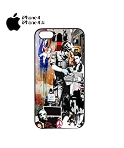 Banksy Street Art Graffiti Mobile Cell Phone Case Cover iPhone 4&4s Black